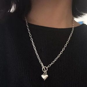 TOGGLE 925 STERLING SILVER CHUNKY HEART NECKLACE